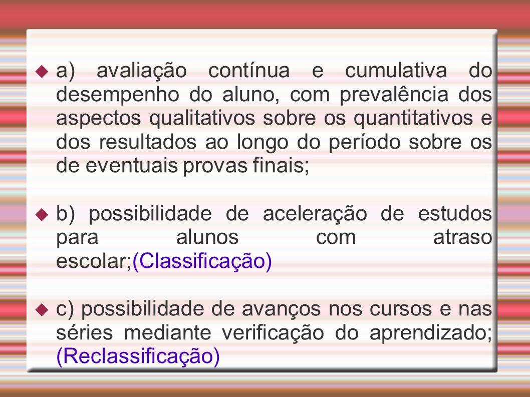 a) avaliação contínua e cumulativa do desempenho do aluno, com prevalência dos aspectos qualitativos sobre os quantitativos e dos resultados ao longo do período sobre os de eventuais provas finais;