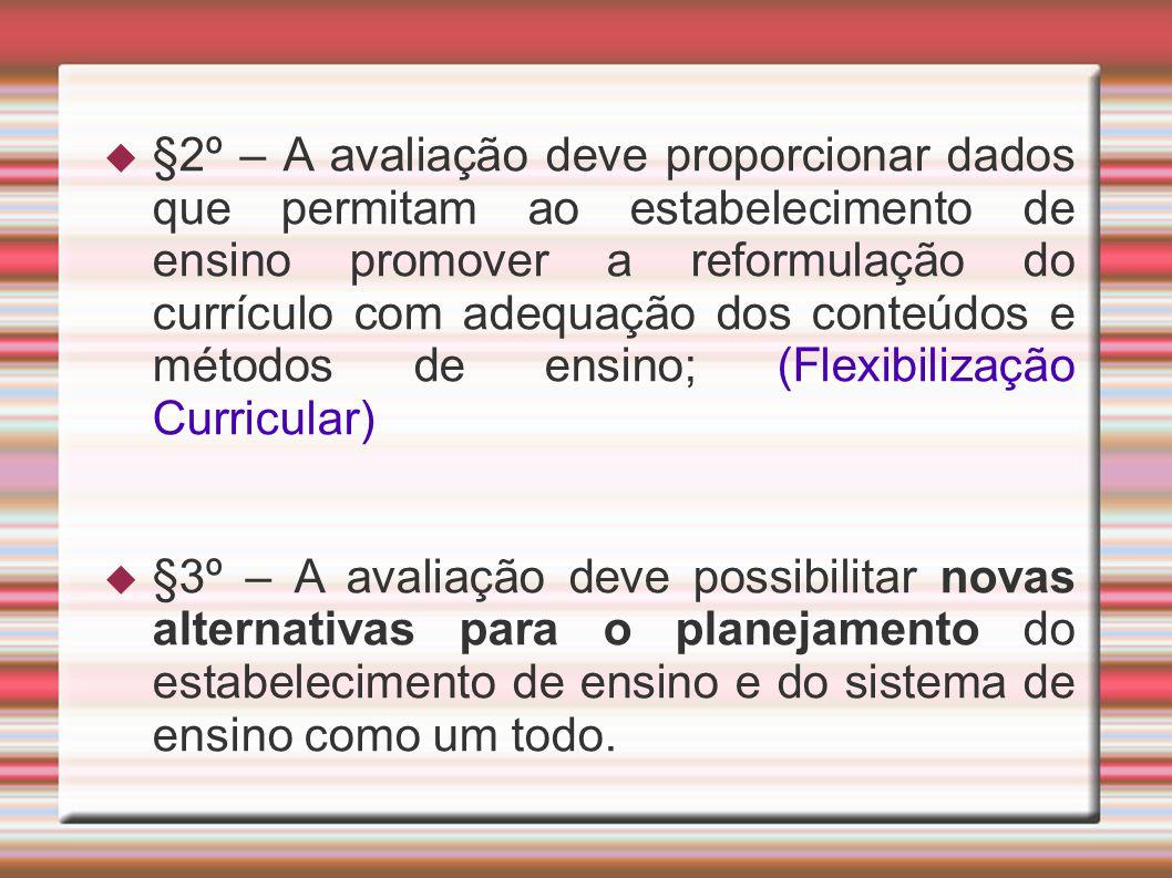 §2º – A avaliação deve proporcionar dados que permitam ao estabelecimento de ensino promover a reformulação do currículo com adequação dos conteúdos e métodos de ensino; (Flexibilização Curricular)