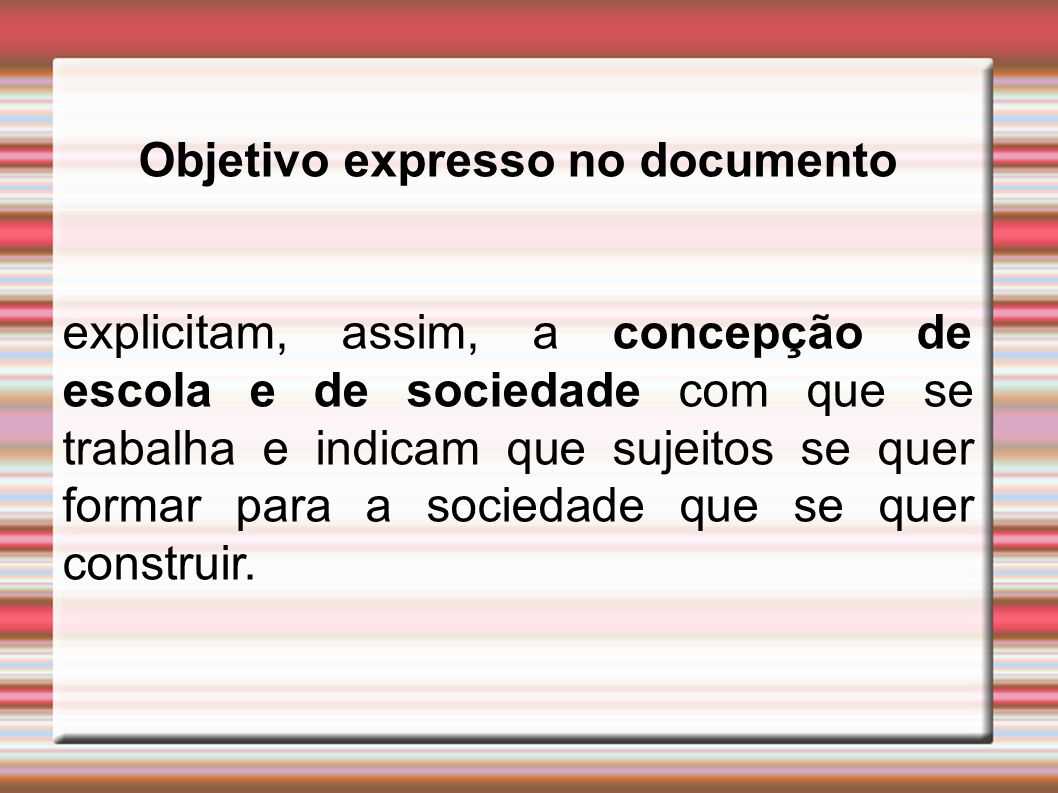Objetivo expresso no documento