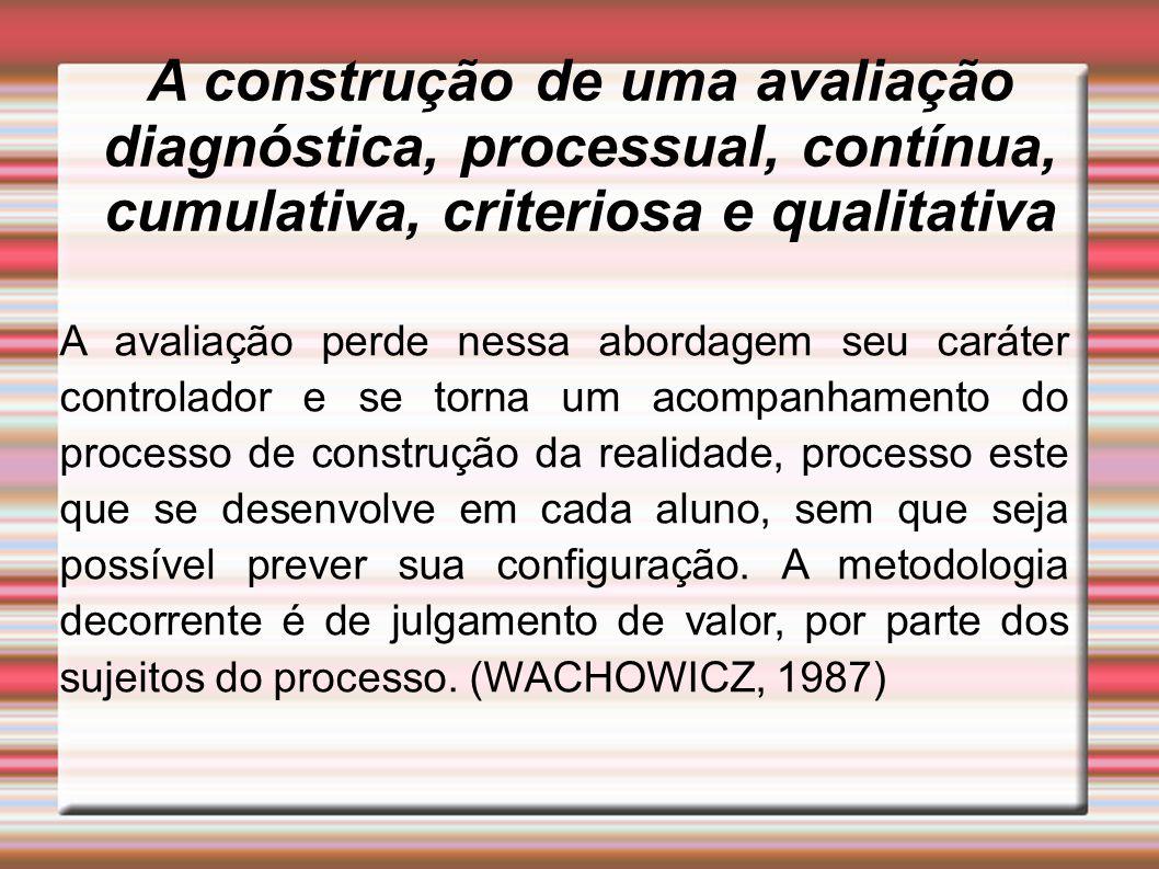 A construção de uma avaliação diagnóstica, processual, contínua, cumulativa, criteriosa e qualitativa