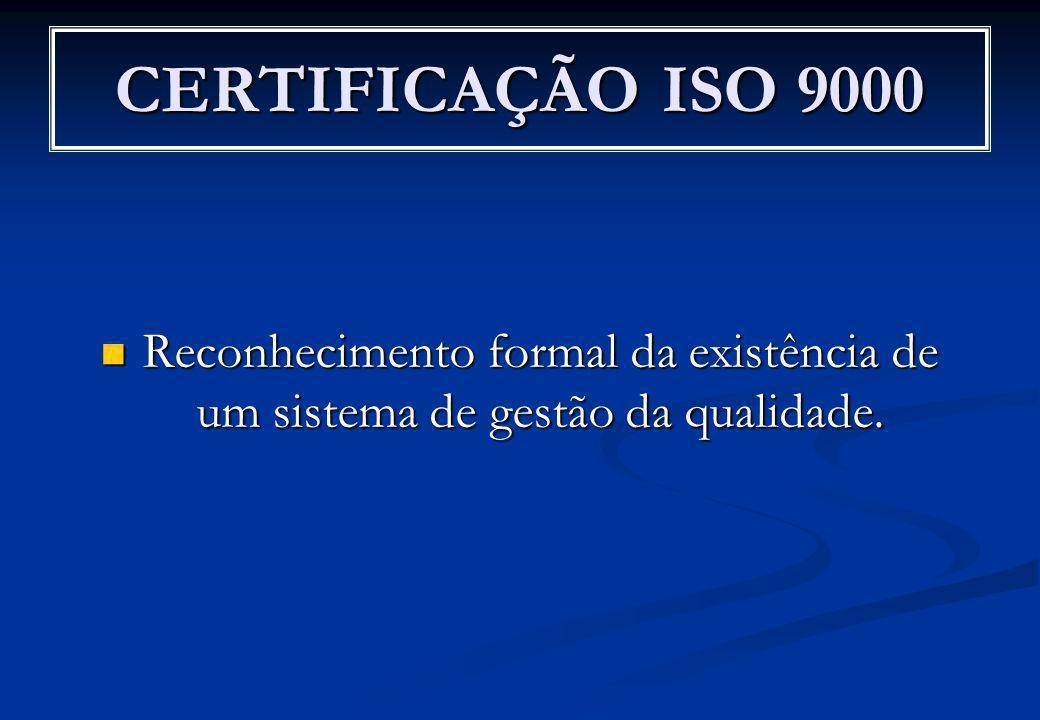 CERTIFICAÇÃO ISO 9000 Reconhecimento formal da existência de um sistema de gestão da qualidade.