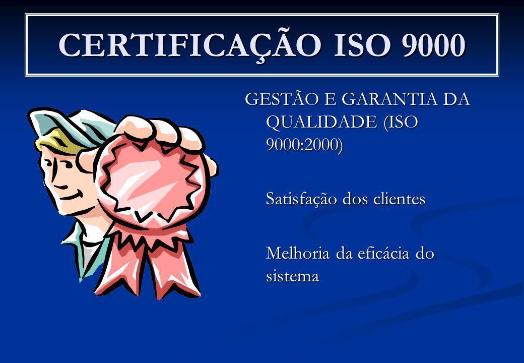 CERTIFICAÇÃO ISO 9000 GESTÃO E GARANTIA DA QUALIDADE (ISO 9000:2000)