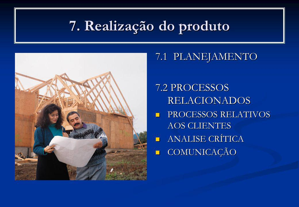 7. Realização do produto 7.1 PLANEJAMENTO 7.2 PROCESSOS RELACIONADOS