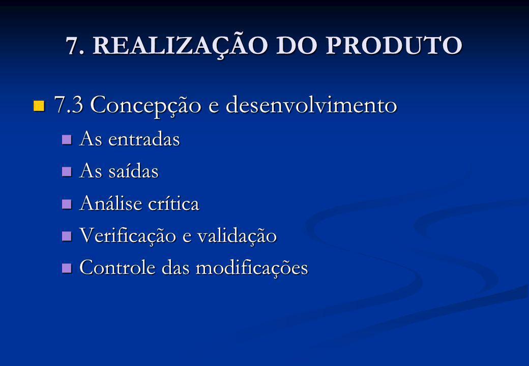7. REALIZAÇÃO DO PRODUTO 7.3 Concepção e desenvolvimento As entradas