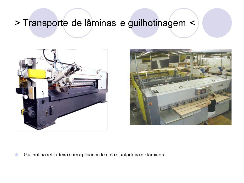 > Transporte de lâminas e guilhotinagem <