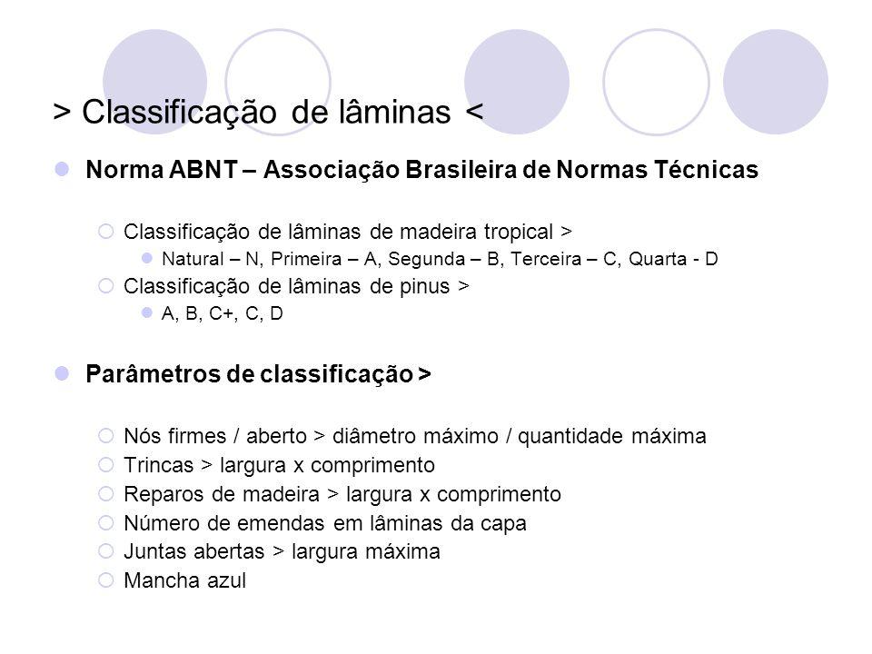 > Classificação de lâminas <