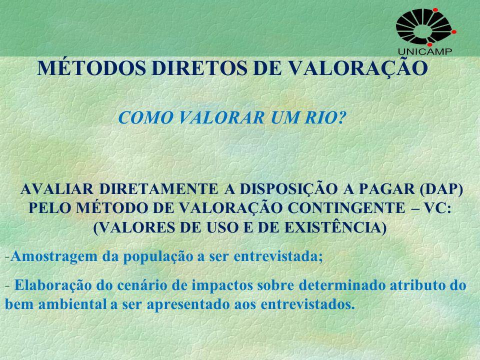 MÉTODOS DIRETOS DE VALORAÇÃO COMO VALORAR UM RIO