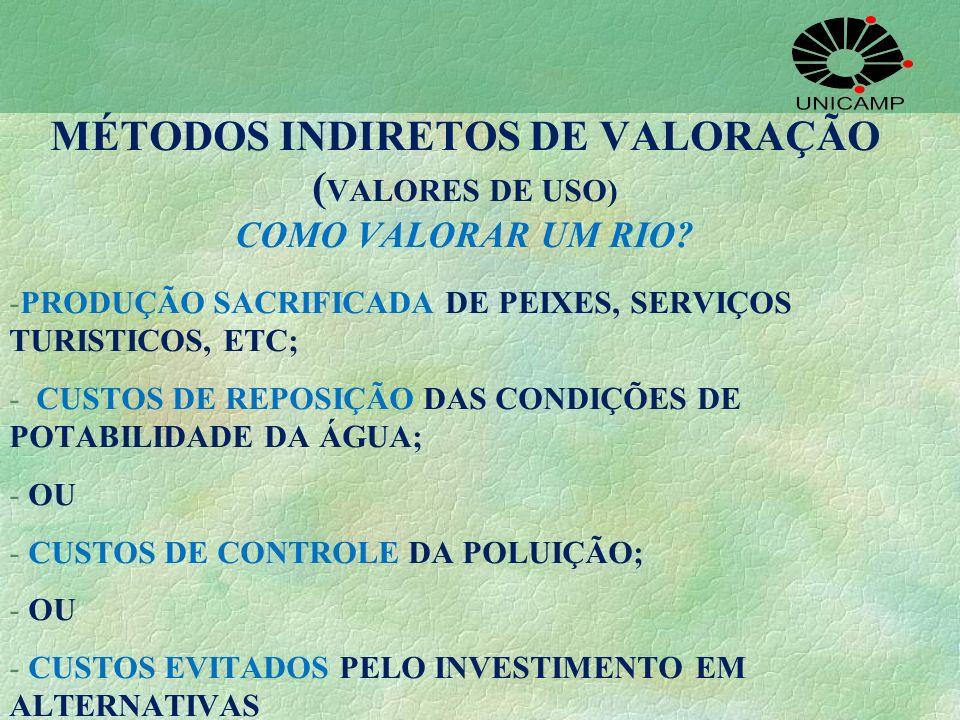 MÉTODOS INDIRETOS DE VALORAÇÃO (VALORES DE USO) COMO VALORAR UM RIO