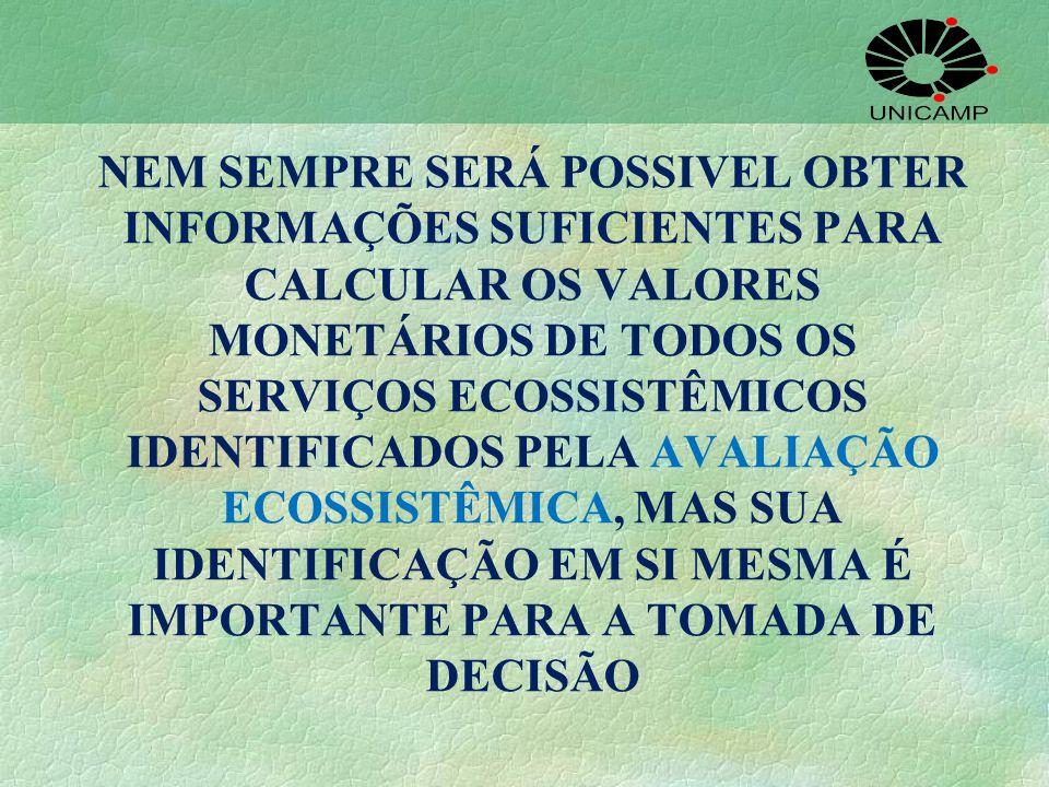 NEM SEMPRE SERÁ POSSIVEL OBTER INFORMAÇÕES SUFICIENTES PARA CALCULAR OS VALORES MONETÁRIOS DE TODOS OS SERVIÇOS ECOSSISTÊMICOS IDENTIFICADOS PELA AVALIAÇÃO ECOSSISTÊMICA, MAS SUA IDENTIFICAÇÃO EM SI MESMA É IMPORTANTE PARA A TOMADA DE DECISÃO