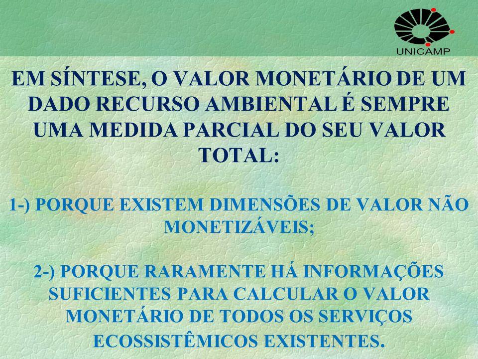 EM SÍNTESE, O VALOR MONETÁRIO DE UM DADO RECURSO AMBIENTAL É SEMPRE UMA MEDIDA PARCIAL DO SEU VALOR TOTAL: 1-) PORQUE EXISTEM DIMENSÕES DE VALOR NÃO MONETIZÁVEIS; 2-) PORQUE RARAMENTE HÁ INFORMAÇÕES SUFICIENTES PARA CALCULAR O VALOR MONETÁRIO DE TODOS OS SERVIÇOS ECOSSISTÊMICOS EXISTENTES.