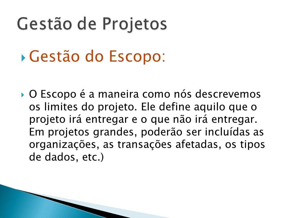 Gestão de Projetos Gestão do Escopo: