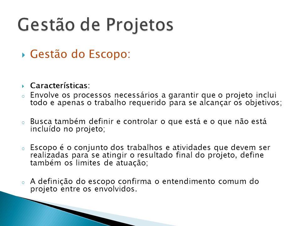 Gestão de Projetos Gestão do Escopo: Características: