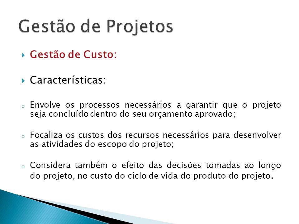 Gestão de Projetos Gestão de Custo: Características: