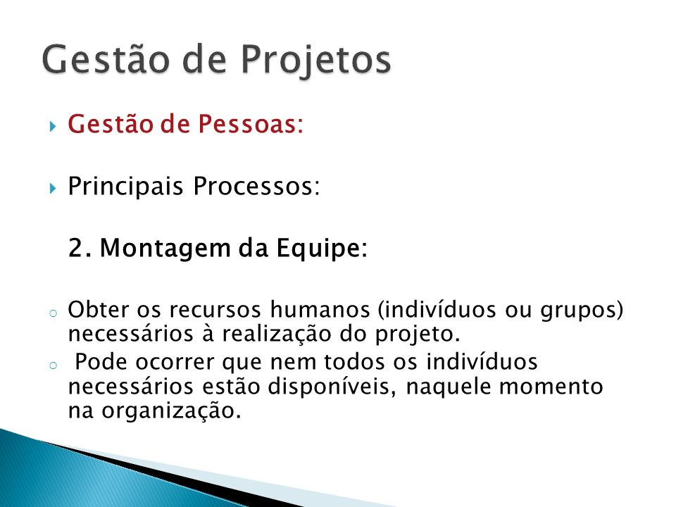Gestão de Projetos Gestão de Pessoas: Principais Processos:
