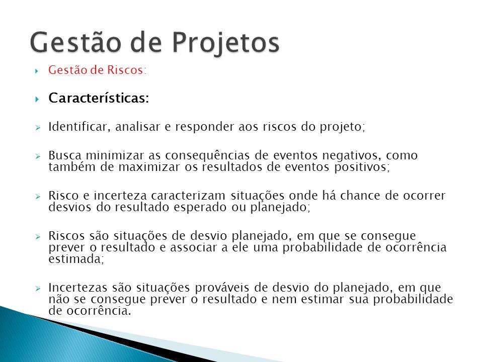 Gestão de Projetos Características: