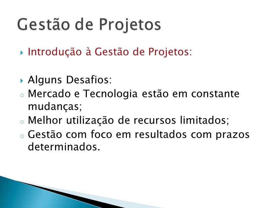 Gestão de Projetos Introdução à Gestão de Projetos: Alguns Desafios: