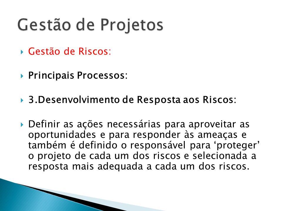 Gestão de Projetos Gestão de Riscos: Principais Processos: