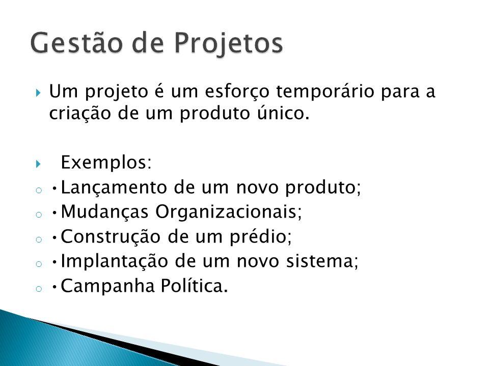Gestão de Projetos Um projeto é um esforço temporário para a criação de um produto único. Exemplos: