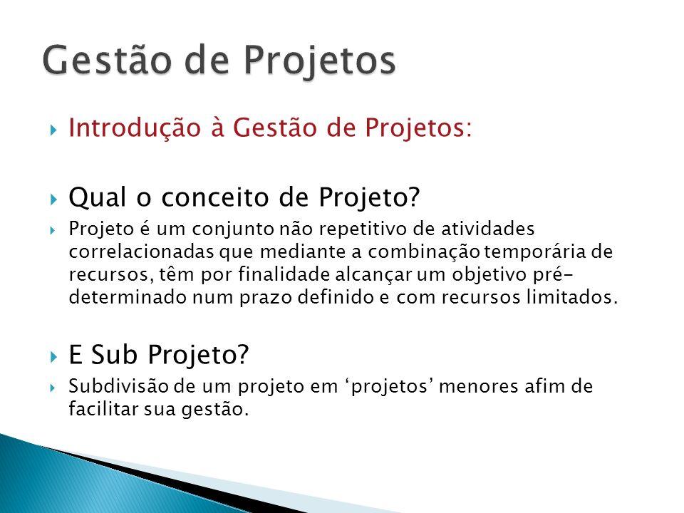 Gestão de Projetos Qual o conceito de Projeto E Sub Projeto