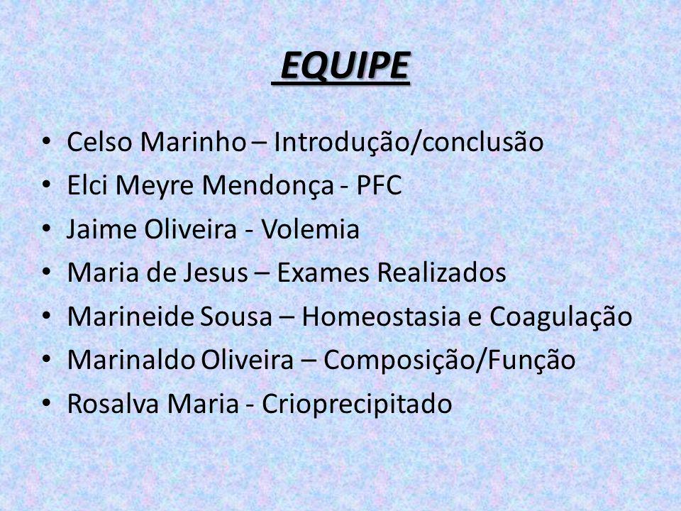 EQUIPE Celso Marinho – Introdução/conclusão Elci Meyre Mendonça - PFC