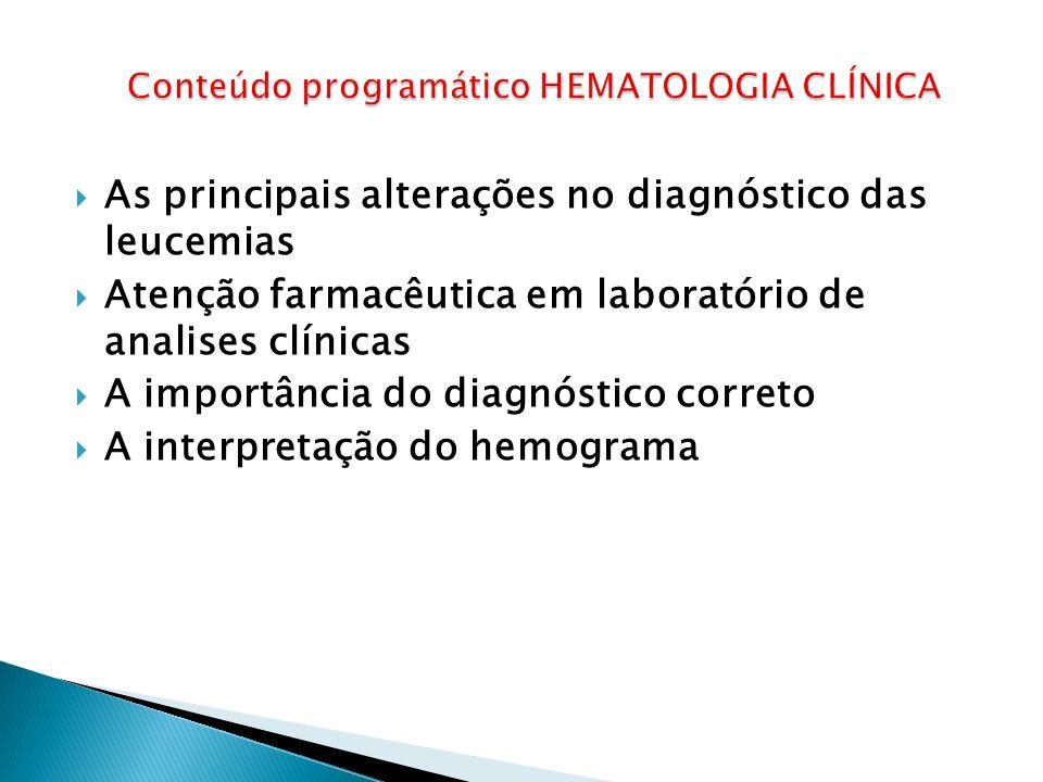 Conteúdo programático HEMATOLOGIA CLÍNICA