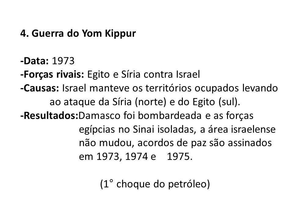 4. Guerra do Yom Kippur -Data: 1973. -Forças rivais: Egito e Síria contra Israel.