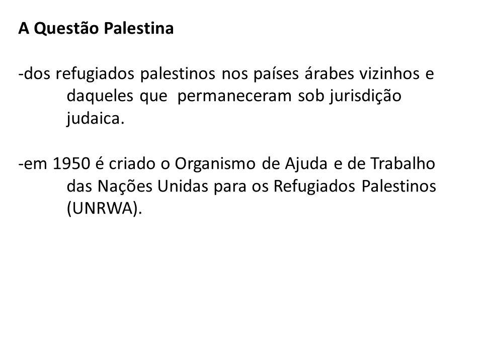 A Questão Palestina-dos refugiados palestinos nos países árabes vizinhos e daqueles que permaneceram sob jurisdição judaica.