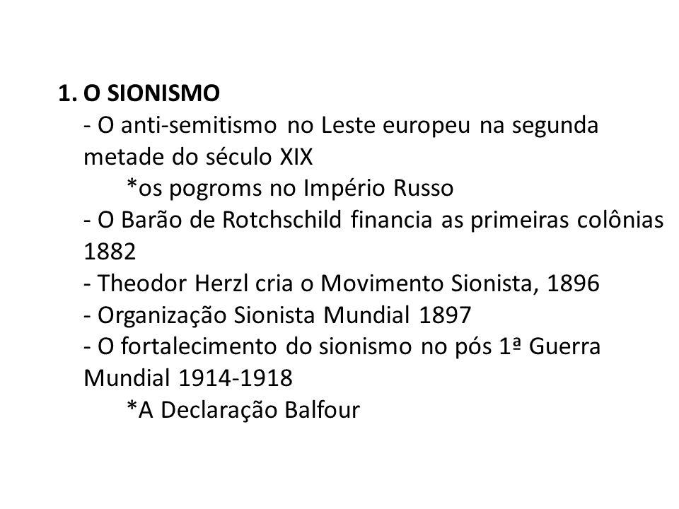 O SIONISMO- O anti-semitismo no Leste europeu na segunda metade do século XIX. *os pogroms no Império Russo.