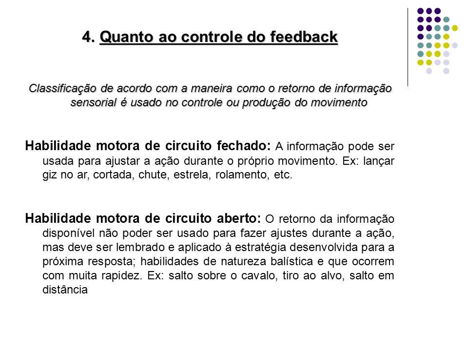Quanto ao controle do feedback