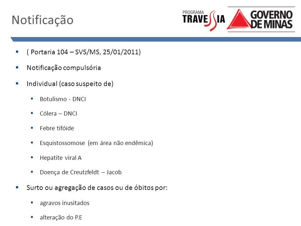 Notificação ( Portaria 104 – SVS/MS, 25/01/2011)