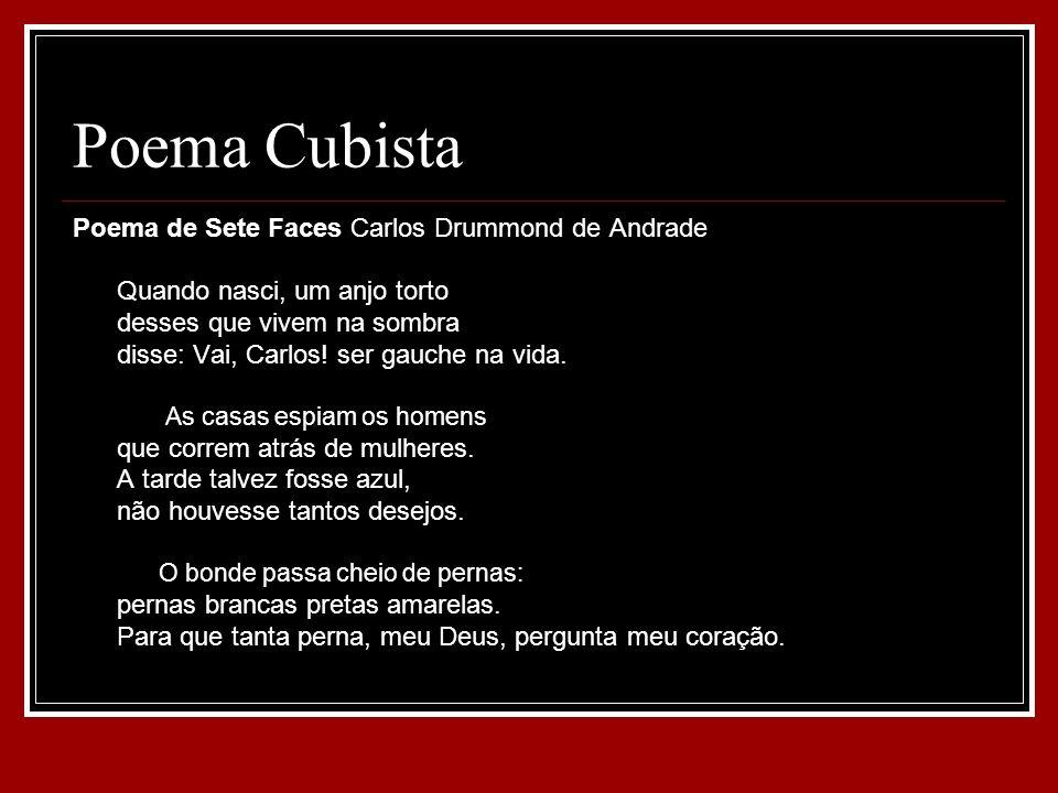 Poema Cubista Poema de Sete Faces Carlos Drummond de Andrade