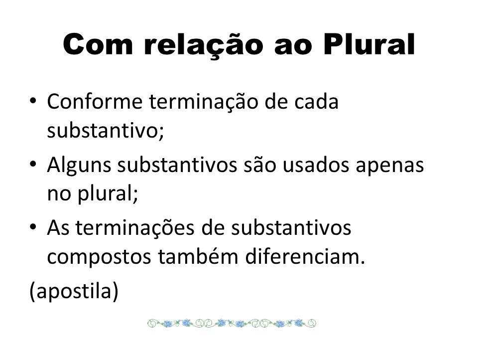 Com relação ao Plural Conforme terminação de cada substantivo;