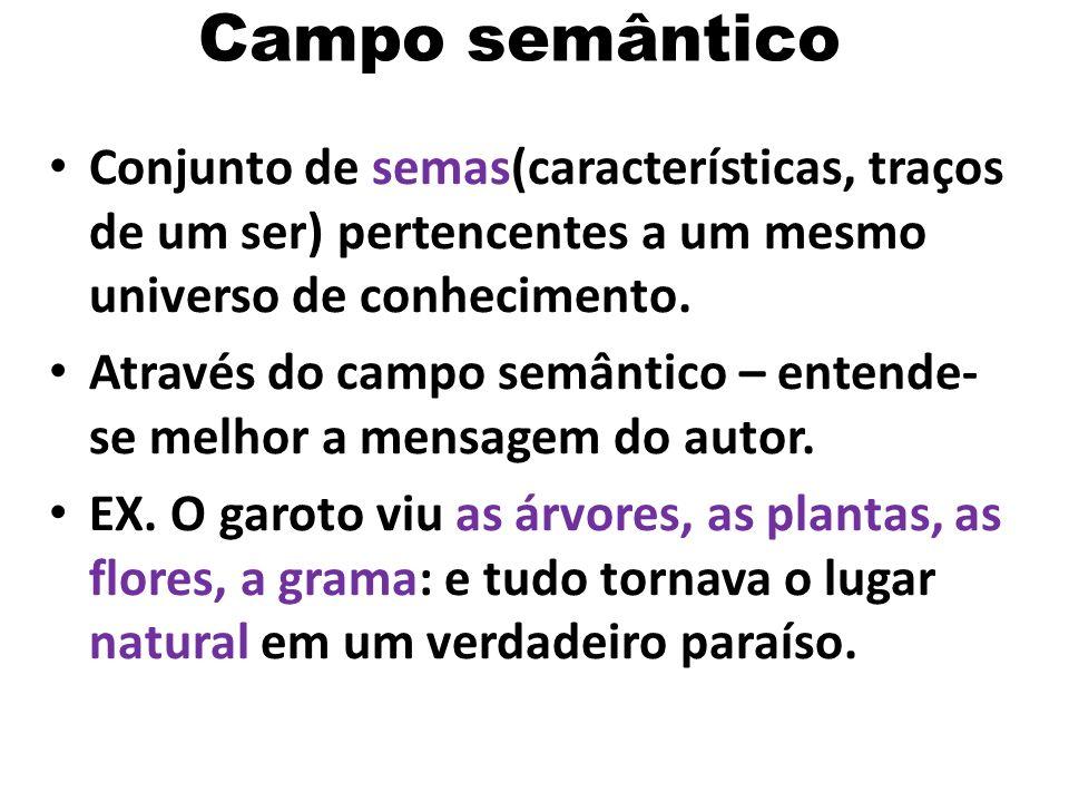 Campo semântico Conjunto de semas(características, traços de um ser) pertencentes a um mesmo universo de conhecimento.
