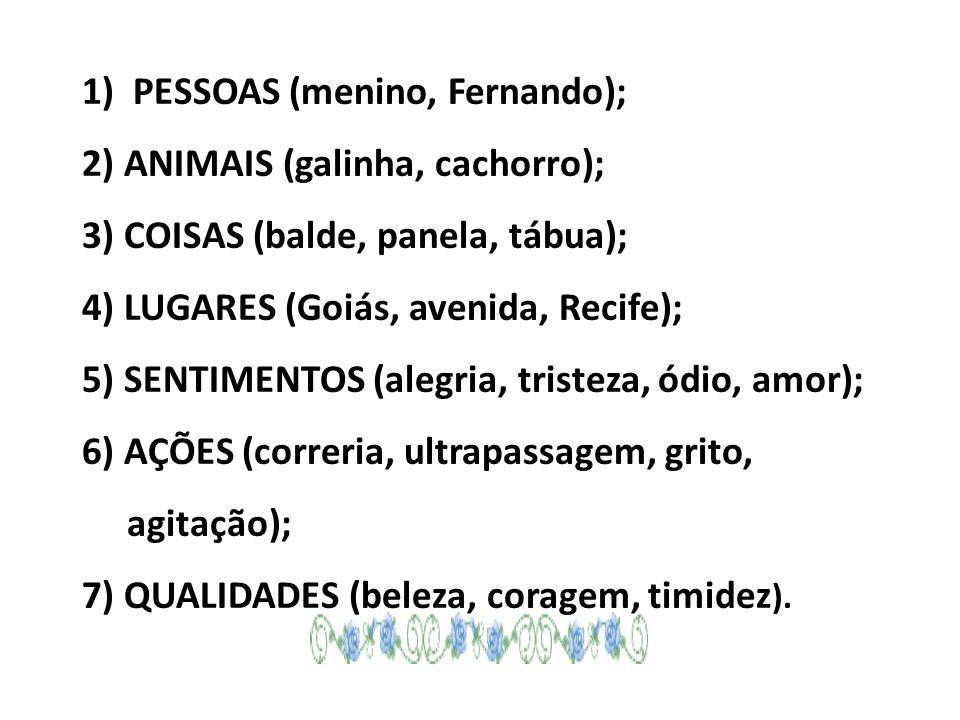 1) PESSOAS (menino, Fernando); 2) ANIMAIS (galinha, cachorro); 3) COISAS (balde, panela, tábua); 4) LUGARES (Goiás, avenida, Recife); 5) SENTIMENTOS (alegria, tristeza, ódio, amor); 6) AÇÕES (correria, ultrapassagem, grito, agitação); 7) QUALIDADES (beleza, coragem, timidez).