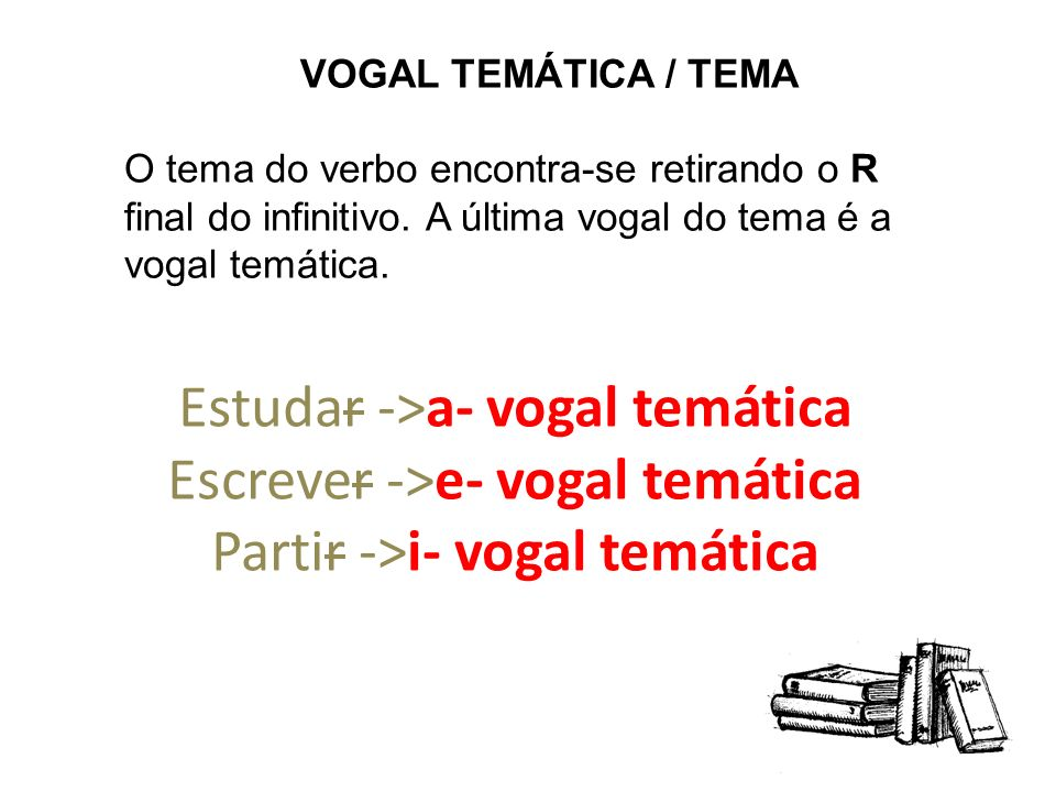 VOGAL TEMÁTICA / TEMA O tema do verbo encontra-se retirando o R final do infinitivo. A última vogal do tema é a vogal temática.
