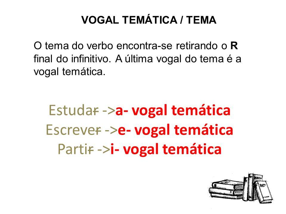 VOGAL TEMÁTICA / TEMAO tema do verbo encontra-se retirando o R final do infinitivo. A última vogal do tema é a vogal temática.