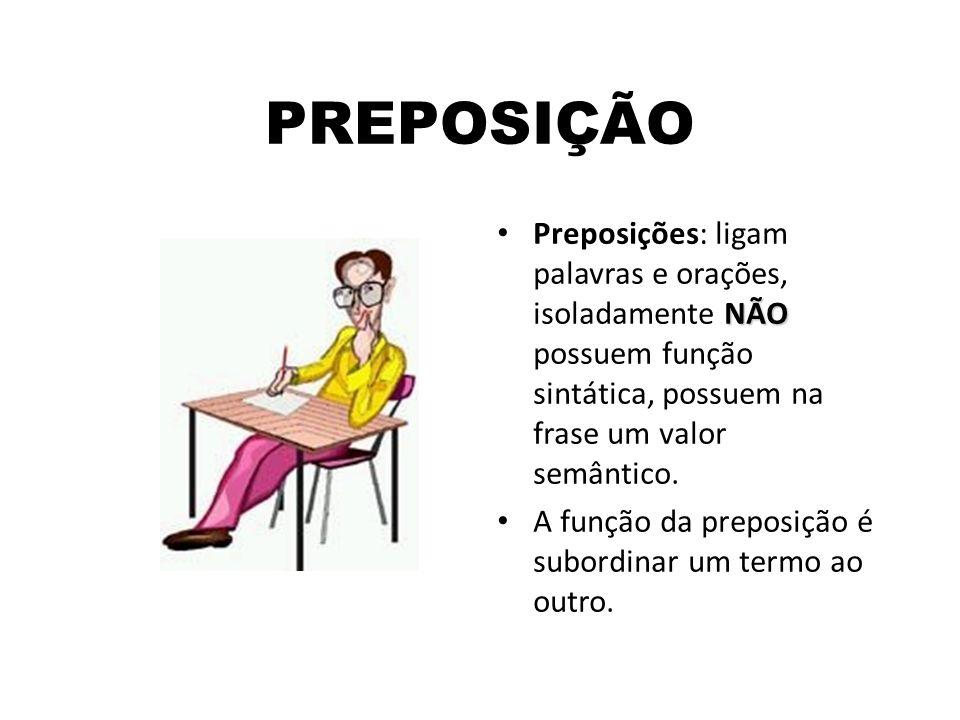 PREPOSIÇÃOPreposições: ligam palavras e orações, isoladamente NÃO possuem função sintática, possuem na frase um valor semântico.