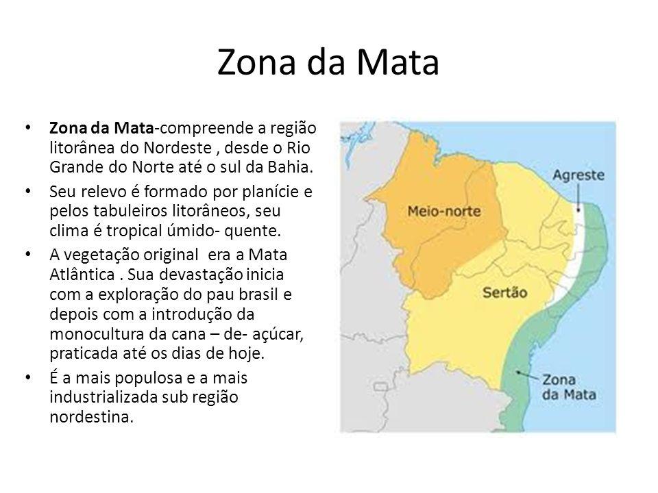 Zona da MataZona da Mata-compreende a região litorânea do Nordeste , desde o Rio Grande do Norte até o sul da Bahia.