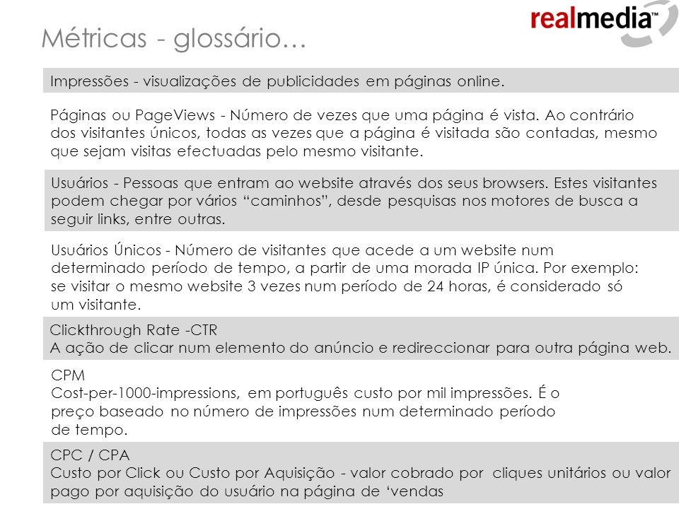 Métricas - glossário… Impressões - visualizações de publicidades em páginas online.