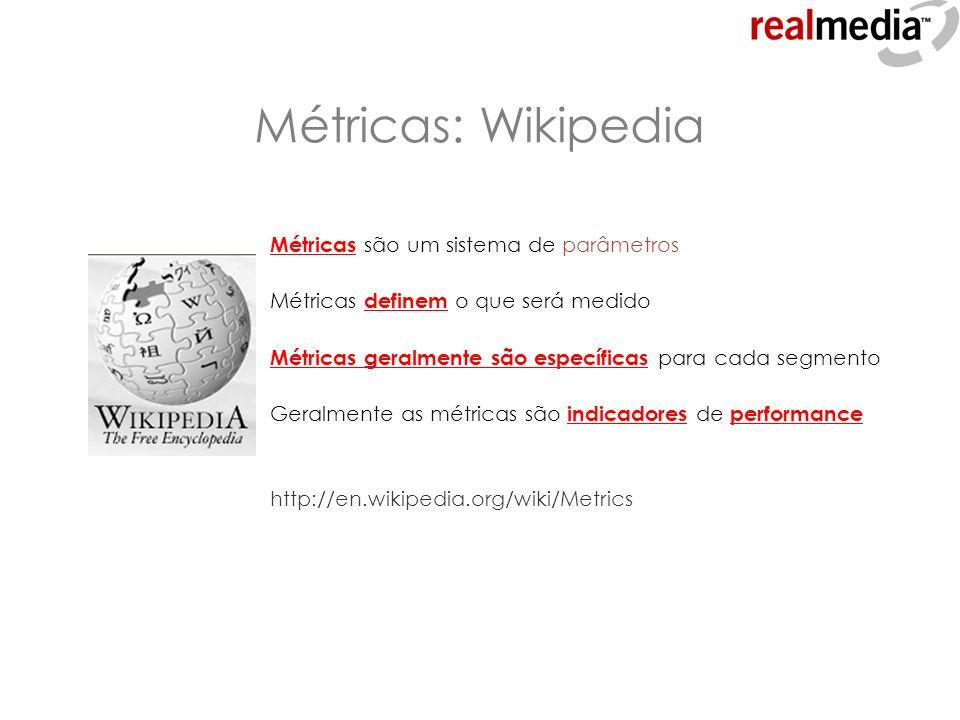 Métricas: Wikipedia Métricas são um sistema de parâmetros