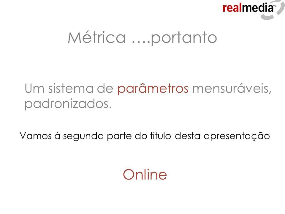 Métrica ….portanto Online Um sistema de parâmetros mensuráveis,