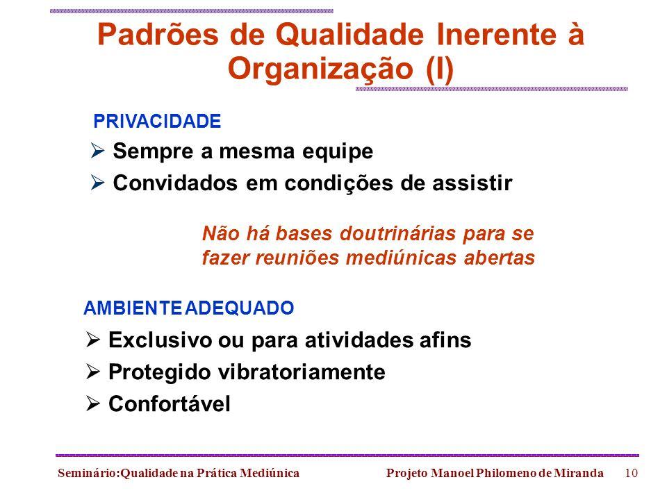 Padrões de Qualidade Inerente à Organização (I)