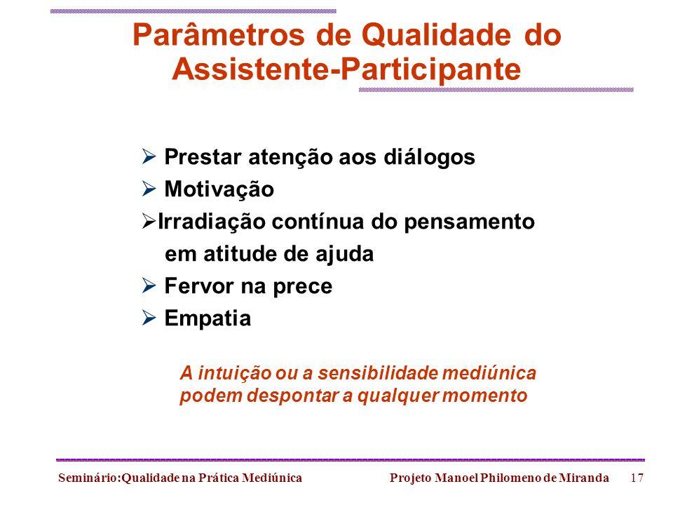 Parâmetros de Qualidade do Assistente-Participante