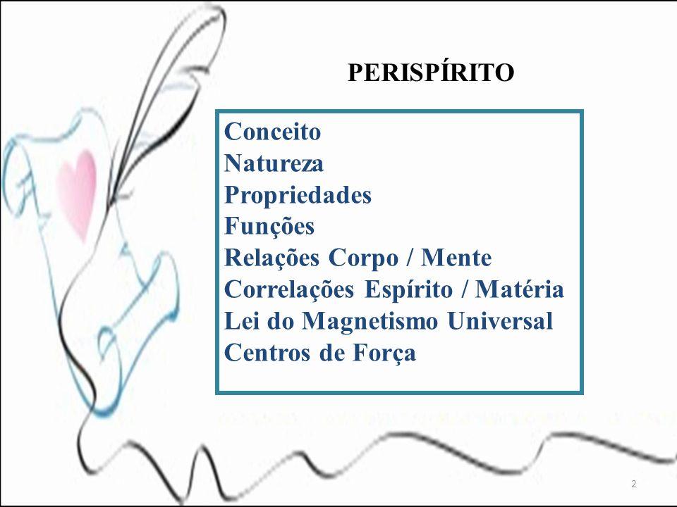 PERISPÍRITO Conceito. Natureza. Propriedades. Funções. Relações Corpo / Mente. Correlações Espírito / Matéria.