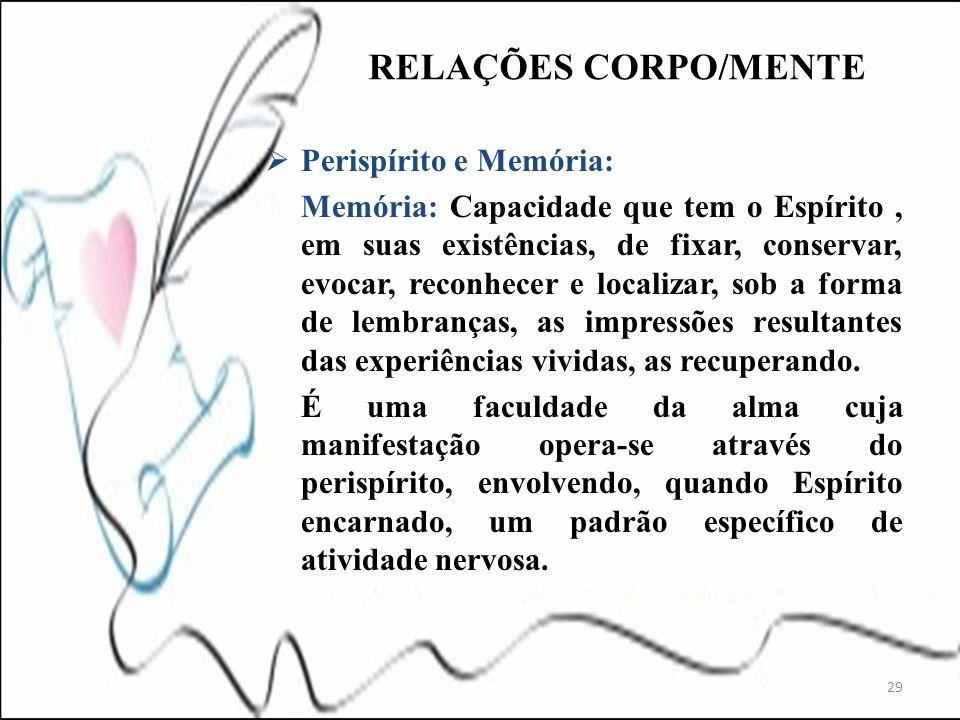RELAÇÕES CORPO/MENTE Perispírito e Memória: