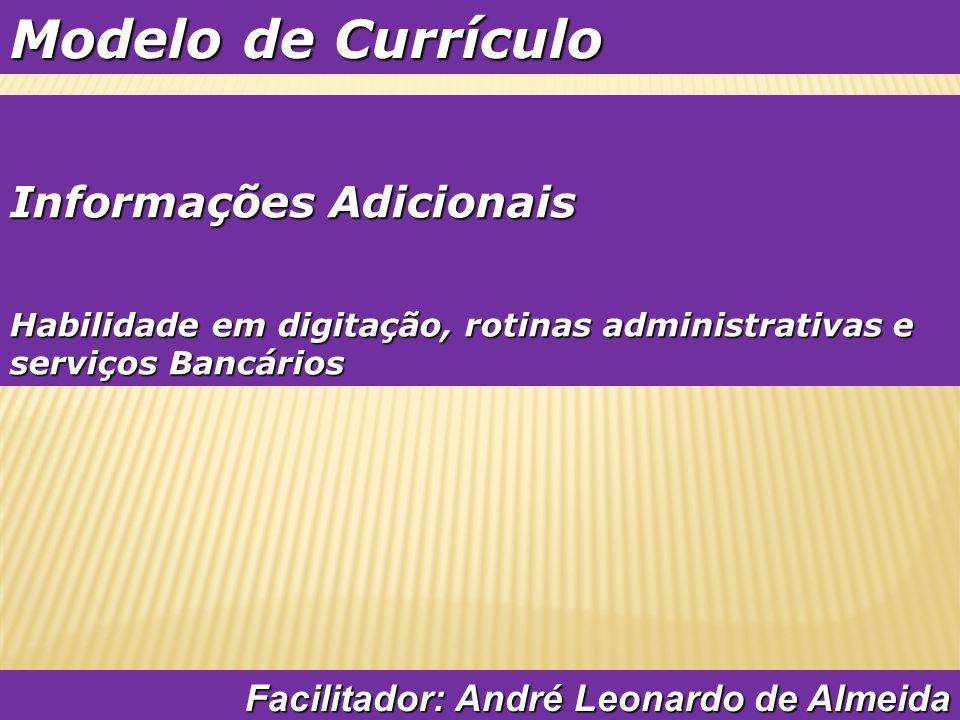 Modelo de Currículo Informações Adicionais