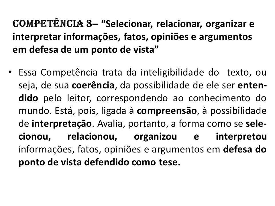 Competência 3– Selecionar, relacionar, organizar e interpretar informações, fatos, opiniões e argumentos em defesa de um ponto de vista