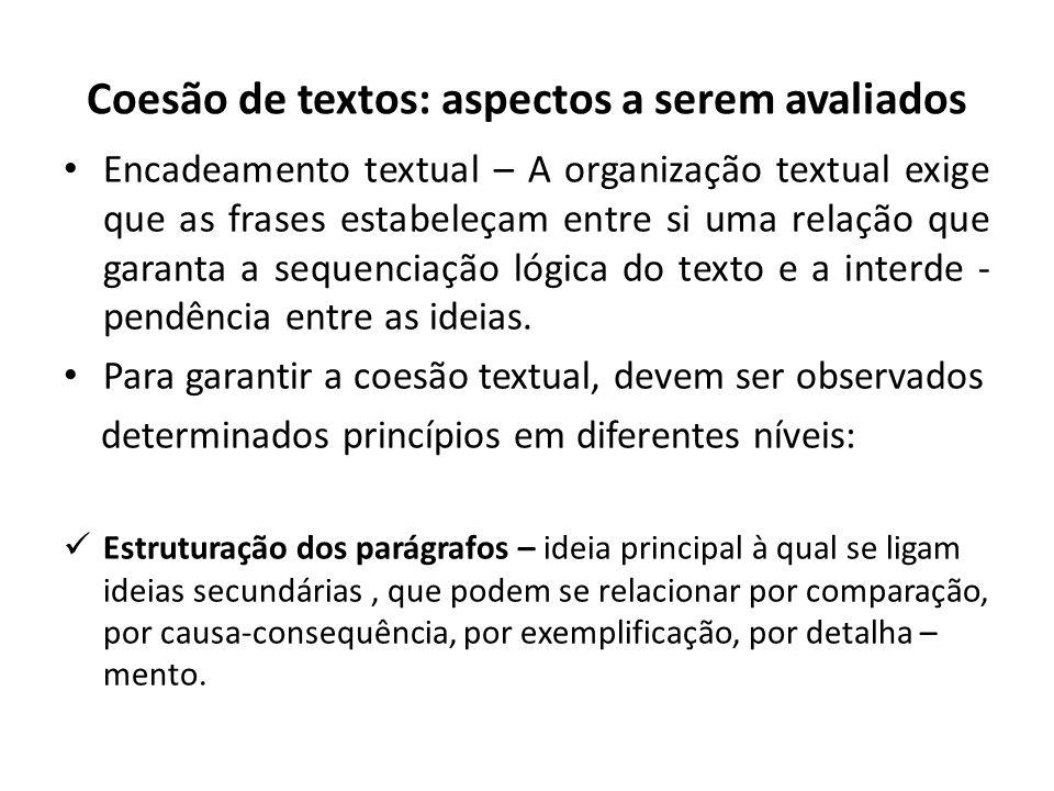 Coesão de textos: aspectos a serem avaliados