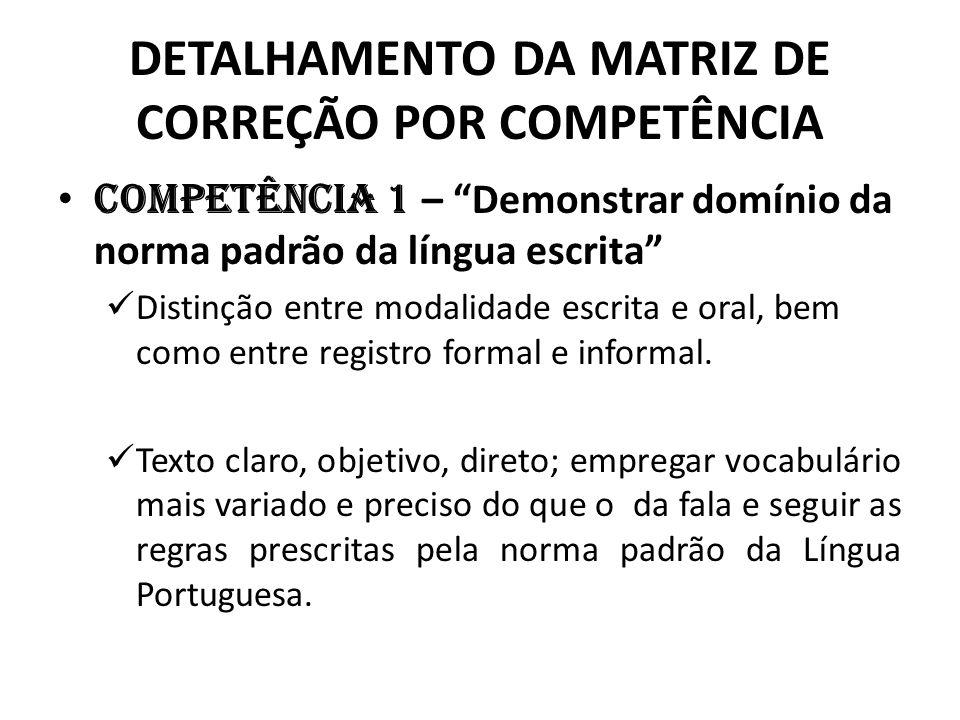 DETALHAMENTO DA MATRIZ DE CORREÇÃO POR COMPETÊNCIA
