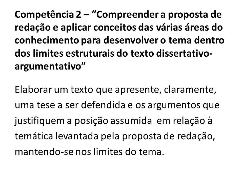Competência 2 – Compreender a proposta de redação e aplicar conceitos das várias áreas do conhecimento para desenvolver o tema dentro dos limites estruturais do texto dissertativo-argumentativo